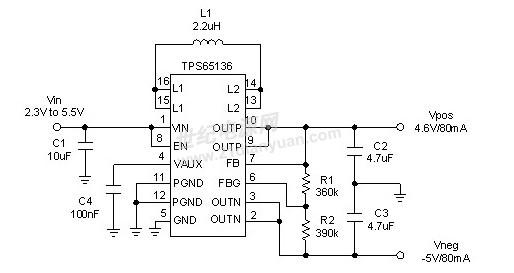 降压升压转换器拓朴    图 3 显示使用 tps65136 的一般应用电路,此装