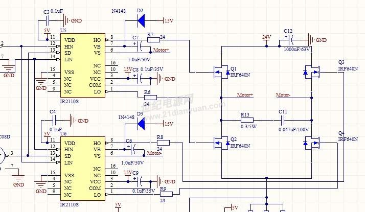 正反转,ir2110s的输出波形畸变的很厉害,不知道电路设计是否存在问题