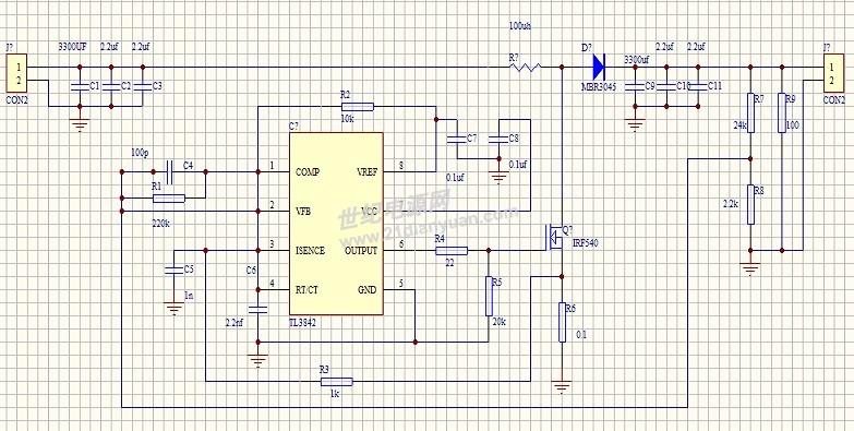 急寻关于uc3843升压电路负载问题
