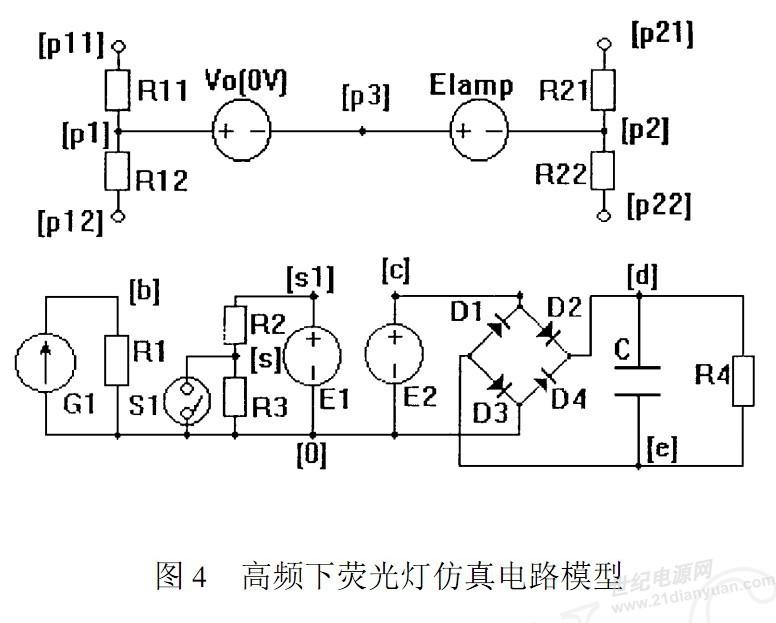 从书中看到一个荧光灯的仿真电路模形,特请教仿真的原理 在图4 中, 利用零值电压源V 0 测取荧光灯中瞬时电流, 其控制线性受控电压源E2,经整流滤波电路, 将灯中电流有效值反映到电阻R4 两端的电压。 该电压控制线性受控电流源 G1, 利用查表法将荧光灯不同工作点对应等效电阻转化为G1 中电流, 也就是电阻R1 两端电压值。将荧光灯启动时的高等效电阻转化为R3 两端电压值。 考虑到启动过程中荧光灯电流的突升, 加入压控开关S1。最后利用受控电压源 Elamp 模拟考虑启动过程的荧光灯。