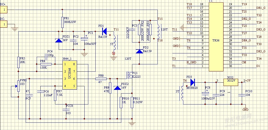1,把光藕二极管上的限流电阻尽量加大 2,在431的R极与电源的输出端加一R1--10K电阻C1--104电容串接补偿,在431的R极与极端加一R2--10K电阻C2--104电容串接补偿,先断开R1,示波器测输出有纹波,计下其周期T1,再换一个R11,令R11*C1=*T1,用R11代替R1;断开R2,测示波器纹波,计下下周期T2,再换一个R22,令R22*C2=T2,用R22代替R1,一般就可以搞好。其实也许实际的R11与R22要偏小偏大一点更合适。 我刚才才用到这个做法,很简单,很可靠,我不懂自动控