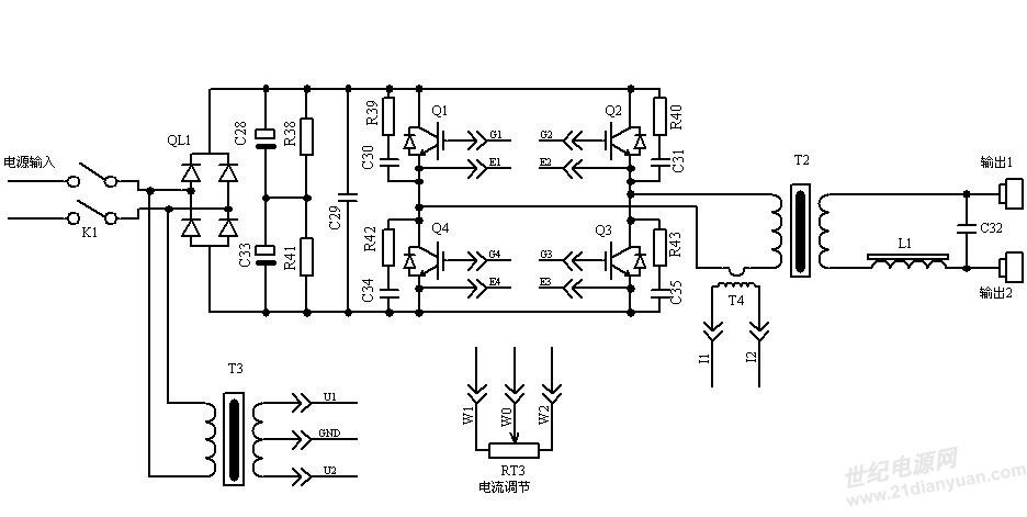 电容c33,电容c29等组成一次侧工频整流电路和滤波电路;中频降压变压器