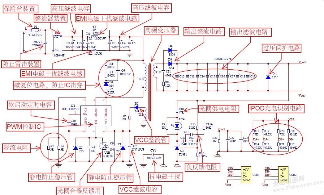 一款手机充电器用电源变换器电路的分析  手机充电器上面写着的多少