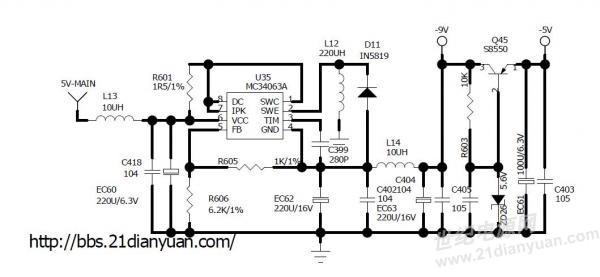 分享一个采用mc34063产生负压电路