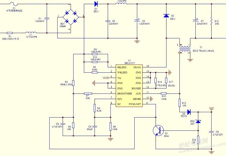是buck的,储能电容换大也没见效果,调光器是可控硅前切的.
