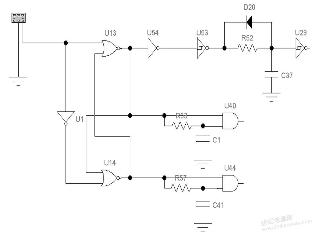 图二实验电路原理图 u1,u54:  74hc