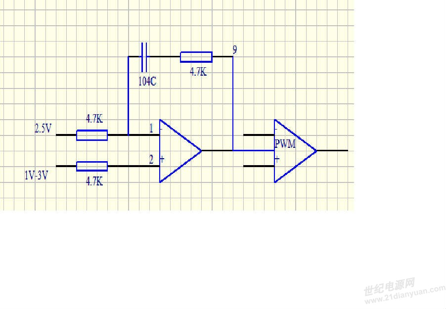 图中是SG3525的一部分电路,具体数值以标上,1脚是反馈端给定一个2.5V稳压,然后调节2脚比较电压的电压值,范围是1-3V.这样PWM输出的波形应该随着2脚电压的变化占空比发生变化。但是我现在试验要么有波形,占空比就是0.4多,要么就没波形,大家看看是哪出问题了