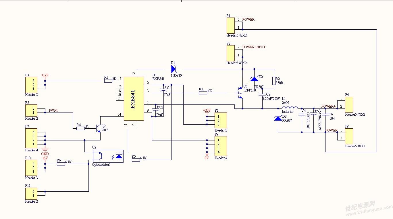我用EXB841驱动IGBT做的斩波电路。直流输入为52V左右,用函数发生器输出3KHz的PWM波,输出空载的时候,驱动正常;当接入4*36欧水泥电阻的时候,调节PWM波的占空比,当占空比达到25%的时候,EXB841的驱动信号就突然没了,负载两端的电压为48.2V。 请问: 1、为什么负载会干扰EXB841的驱动信号呢? 2、我做的滤波电路是否有不足之处呢? 这个是我的原理图:  实物图: