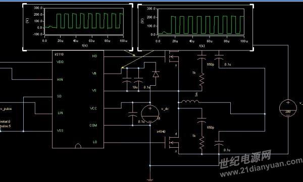 ir2110逆变电路高端输出电压ho电压问题