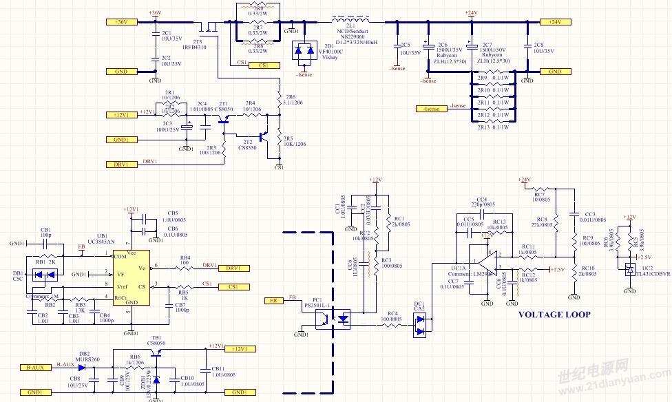 用3843做一个buck,36V转24V、10A,103KHz。带2A以上是产生低频叫声,调节环路会改变音乐的叫法,声音无法去掉,调试中环路还会对输出电压产生降低影响。瞬间带10A工作时没问题!如何改环路无效,改感量(12uH~45uH),改频率(300K~50K)无效。查过辅助供电没问题!