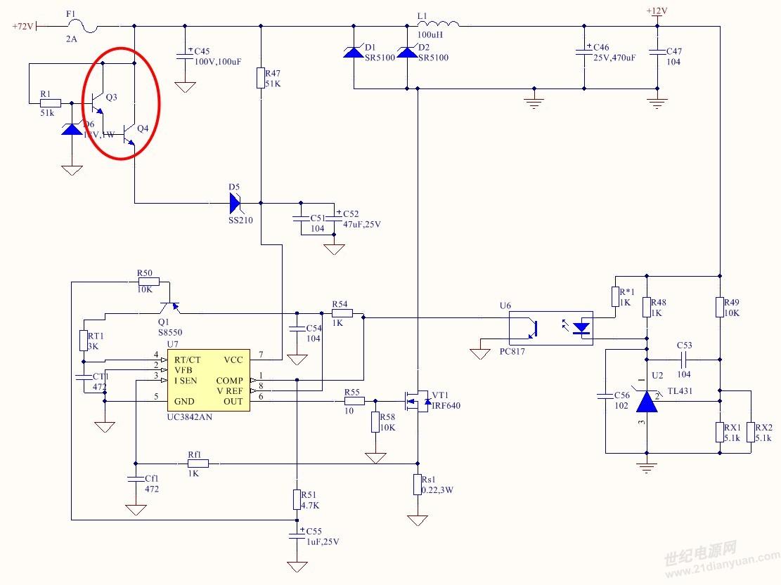 用3842做非隔离的DCDC,输入电压DC20V-75V,输出DC12V,2A 请问一下,这种方案是否可行, 图中红圈的元件选择什么型号比较合适。 或都有什么别的方案也可以提一下。主要是要控制成本。 谢谢各位。