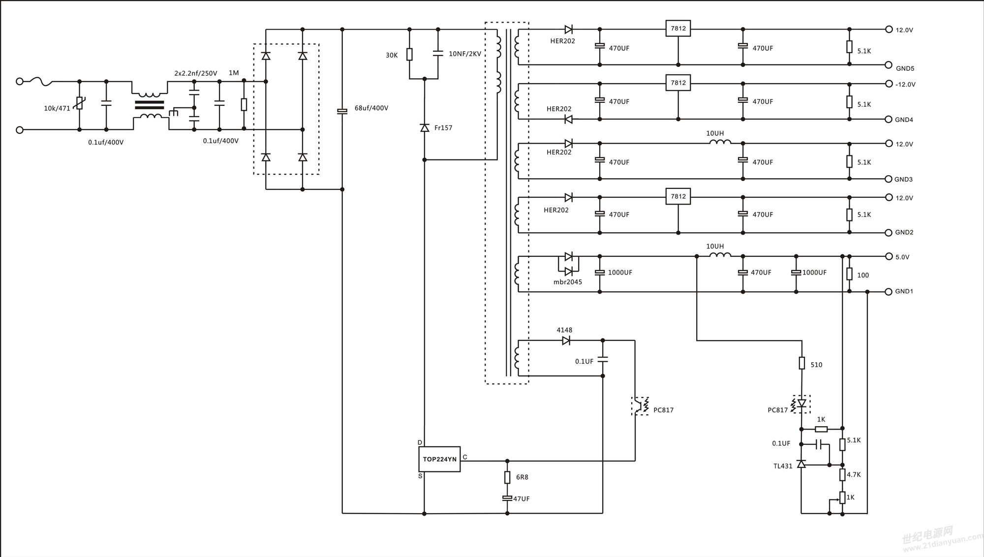 电源书籍下载 历届会议资料  变压器数据:三明治绕法 磁芯ee28/20  初