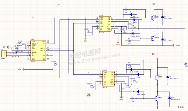 面是电路图(对不住大家了,只能截这么大),主要思路就是用SG3525输出到两片IR2110,然后用这两片IR2110驱动一个全桥电路。有几个疑问:1,共地问题,SG3525和两片IR2110的VSS共地,310V高压和两片IR2110的COM共地,这样可以吗?若所有的这些地可以接一起吗? 2,两个IR2110共用同一个电源,即VCC为同一个电源,这样可以吗?听人说逆变电路必须用独立电源。