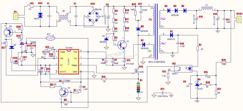UC3842的开关电源保护电路的改进 UC3842的典型应用电路如图l所示。该电路主要由桥式整流电路,高频变压器,MOS功率管以及电流型脉宽调制芯片UC3842构成。其工作原理为:220V的交流电经过桥式整流滤波电路后,得到大约+300V的直流高压,这一直流电压被M0S功率管斩波并通过高频变压器降压,变成频率为几十kHz的矩形波电压,再经过输出整流滤波,就得到了稳定的直流输出电压。其中高频变压器的自馈线圈N2中感应的电压,经D2整流后所得到的直流电压被反馈到UC3842内部的误差放大器并和基准电压比较得到
