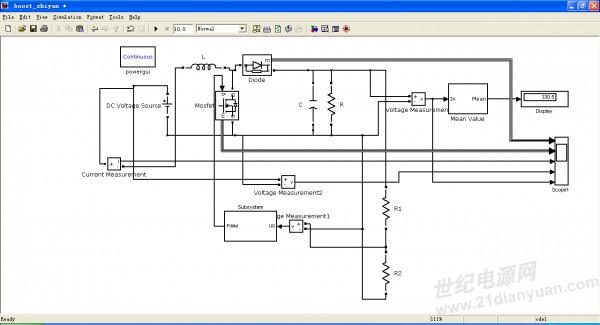 我在matlab里的simpowersystem搭建了boost电路,对其进行了闭环控制
