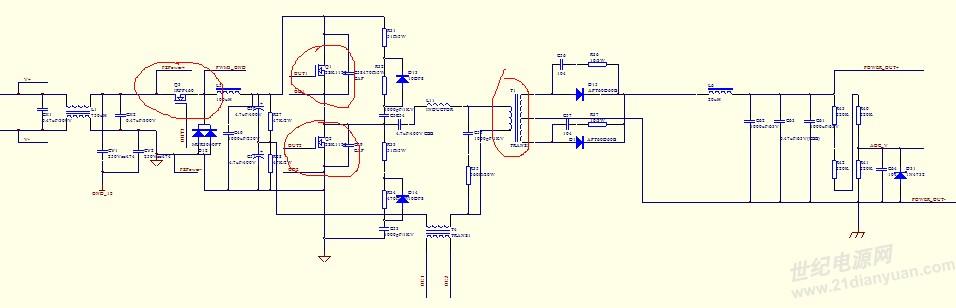 主电路如下,前级buck,后级半桥,输入150v,输出15v,但是纹波有1.