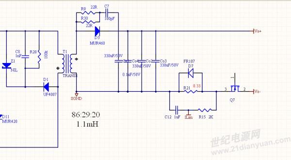 请教 led通过q7(pwm 1khz)来斩波调光  当输出电流为10%的时候 电路有