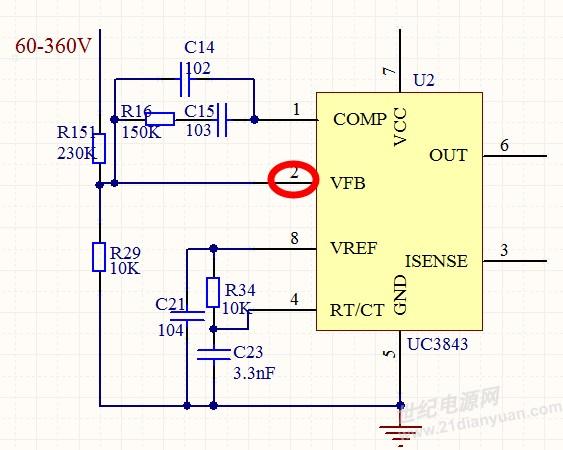 我用UC3843来做boost升压电路,输入电压范围是60~360V。通过电阻分压来采样输入电压。可是当输入电压达到150V以上时,分压后得到的电压超过UC3843的2脚VFB端的最大电压(6.3V)。此时我该怎么保护UC3843的2脚,使其不超过6.3V呢?(我必须用电阻分压来做)谢谢~