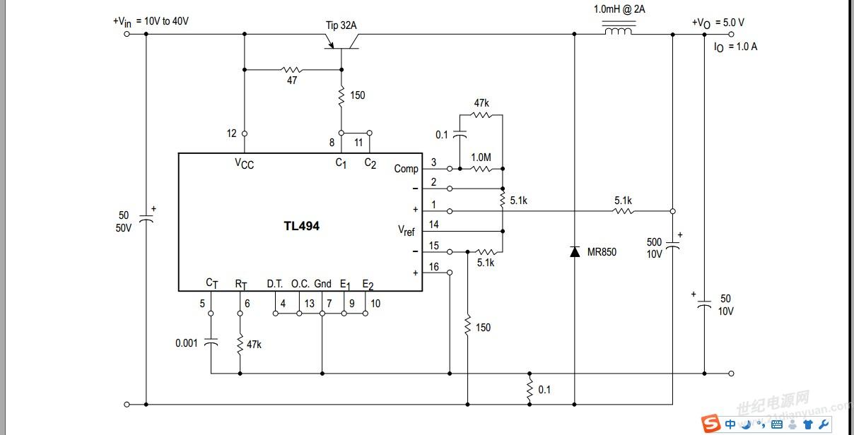 各位大侠,tl494 如下电路图 能实现输入15v 输出5~10v可调吗