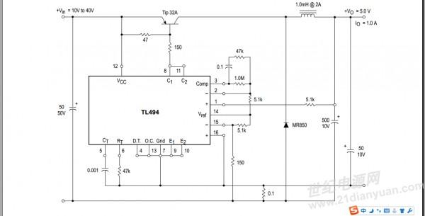 各位大侠,tl494 如下电路图 能实现输入15v 输出5~10v