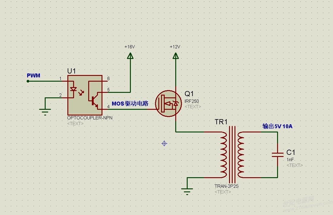 电源书籍下载 历届会议资料  stm32产生pwm->光耦隔离->nmos驱动电路.