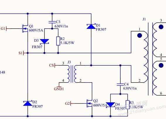 uc3844双管正激变压器一次侧电流问题